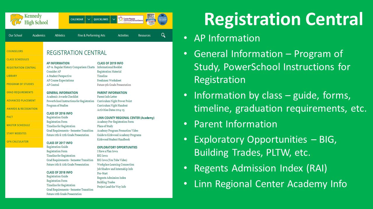 Registration Central AP Information General Information – Program of Study, PowerSchool Instructions for Registration Information by class – guide, forms, timeline, graduation requirements, etc.