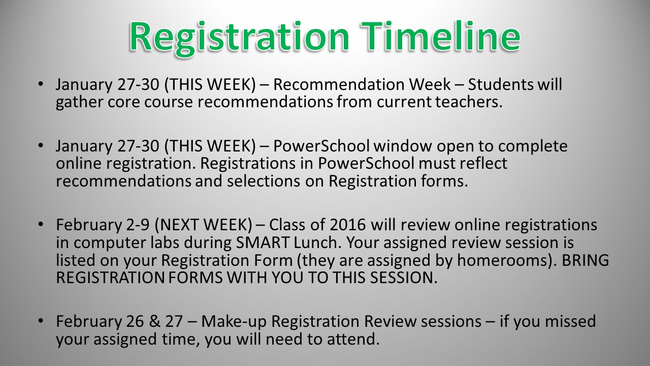 January 27-30 (THIS WEEK) – Recommendation Week – Students will gather core course recommendations from current teachers.