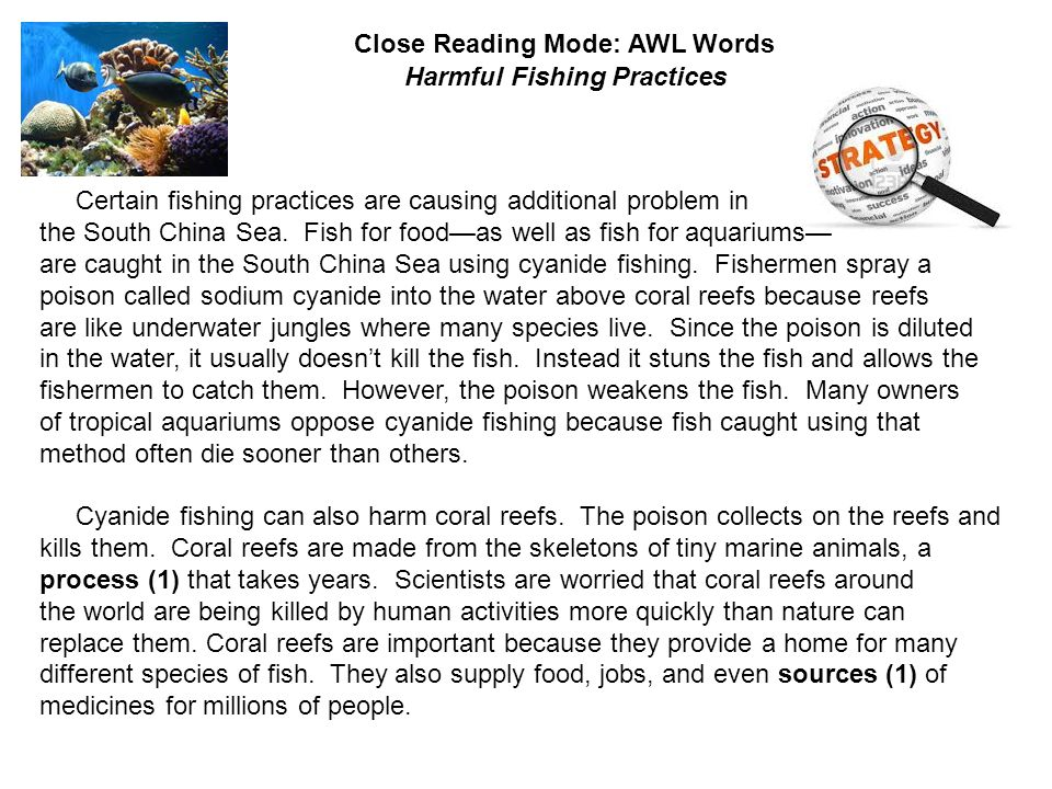Close Reading Mode: AWL Words: Harmful Fishing Practices Certain fishing practices are causing additional problem in the South China Sea.