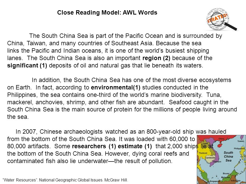 Close Reading Model: Ingredients Water Resources .