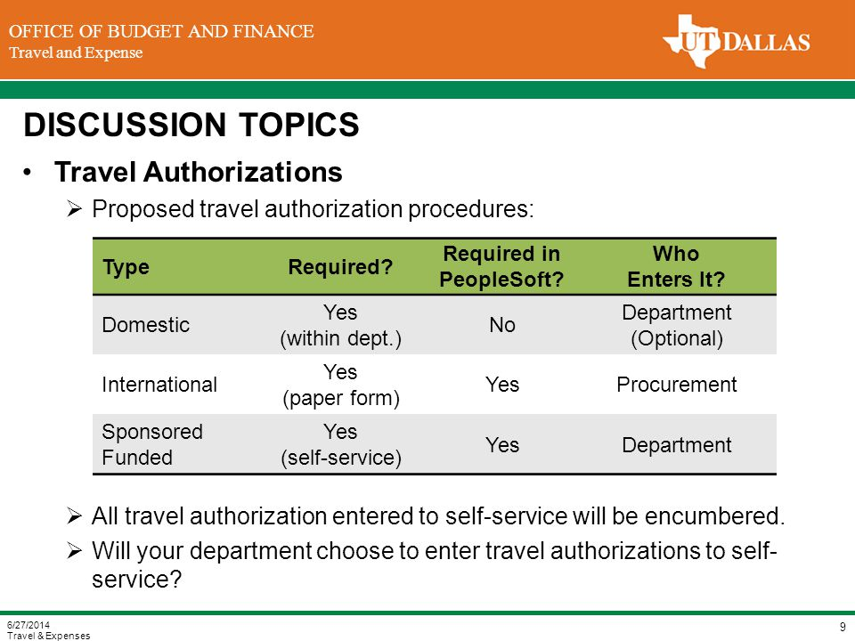 DIVISION OF FINANCE Office of the Vice President for Finance OFFICE OF BUDGET AND FINANCE Travel and Expense DISCUSSION TOPICS Travel Authorizations  Proposed travel authorization procedures:  All travel authorization entered to self-service will be encumbered.