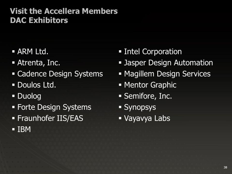 38 Visit the Accellera Members DAC Exhibitors  ARM Ltd.