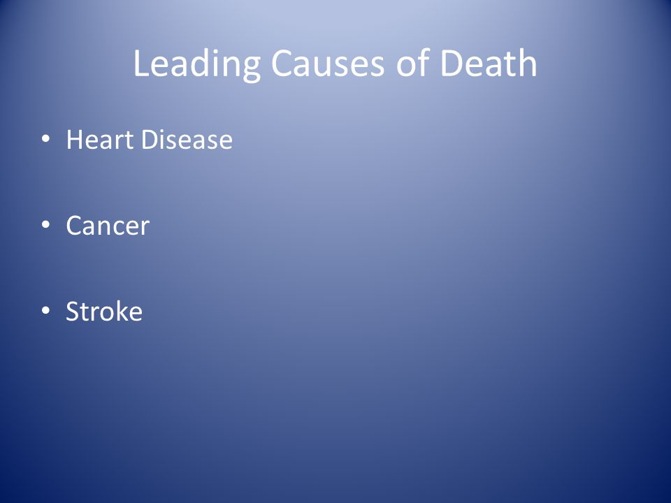 Leading Causes of Death Heart Disease Cancer Stroke
