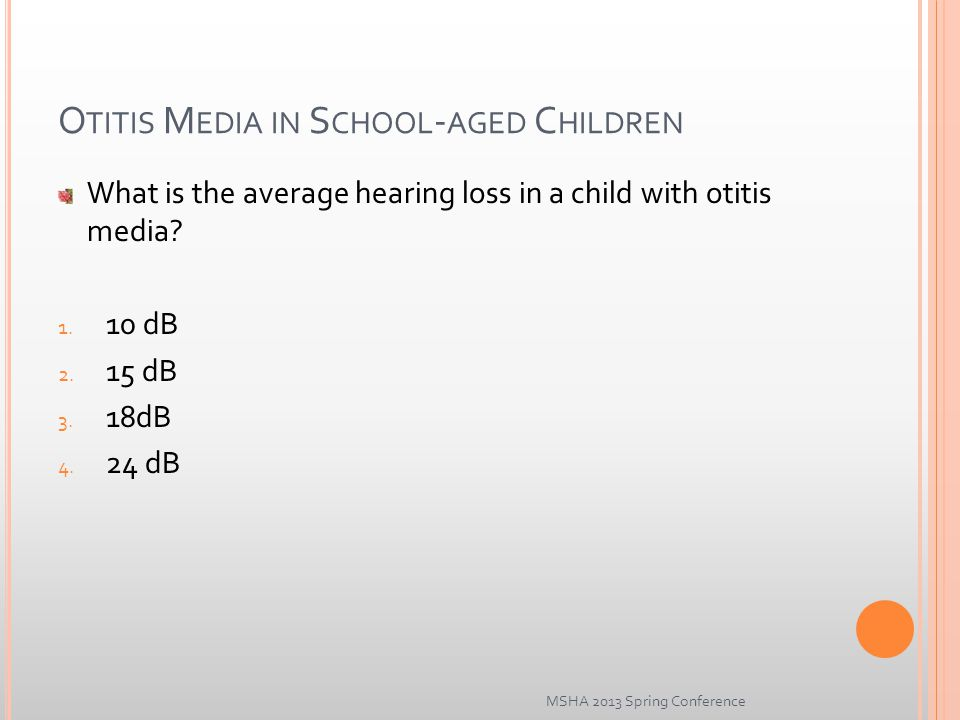 O TITIS M EDIA IN S CHOOL - AGED C HILDREN What is the average hearing loss in a child with otitis media.