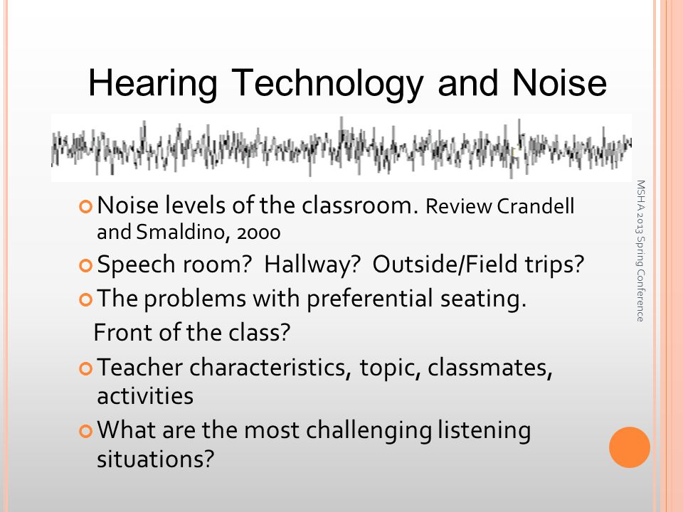 Hearing Technology and Noise Noise levels of the classroom.