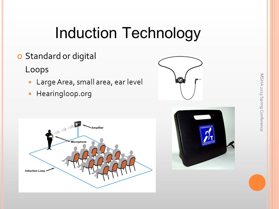 Induction Technology Standard or digital Loops Large Area, small area, ear level Hearingloop.org MSHA 2013 Spring Conference