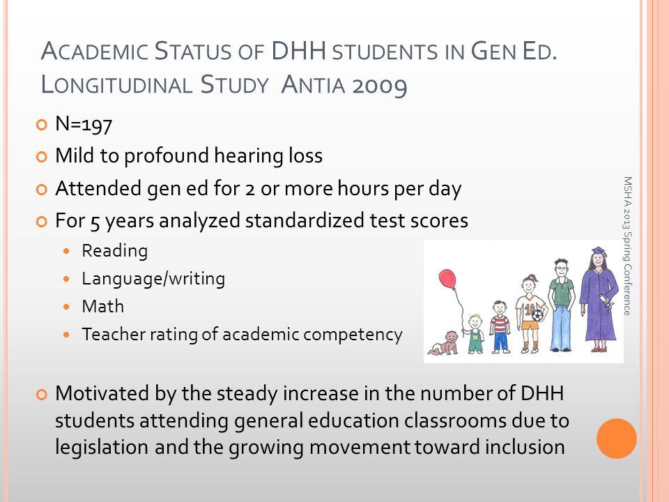 A CADEMIC S TATUS OF DHH STUDENTS IN G EN E D.