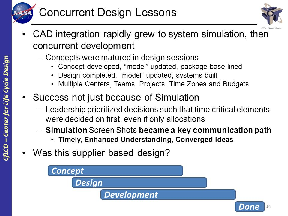 CfLCD – Center for Life Cycle Design Concurrent Design Lessons CAD integration rapidly grew to system simulation, then concurrent development –Concept