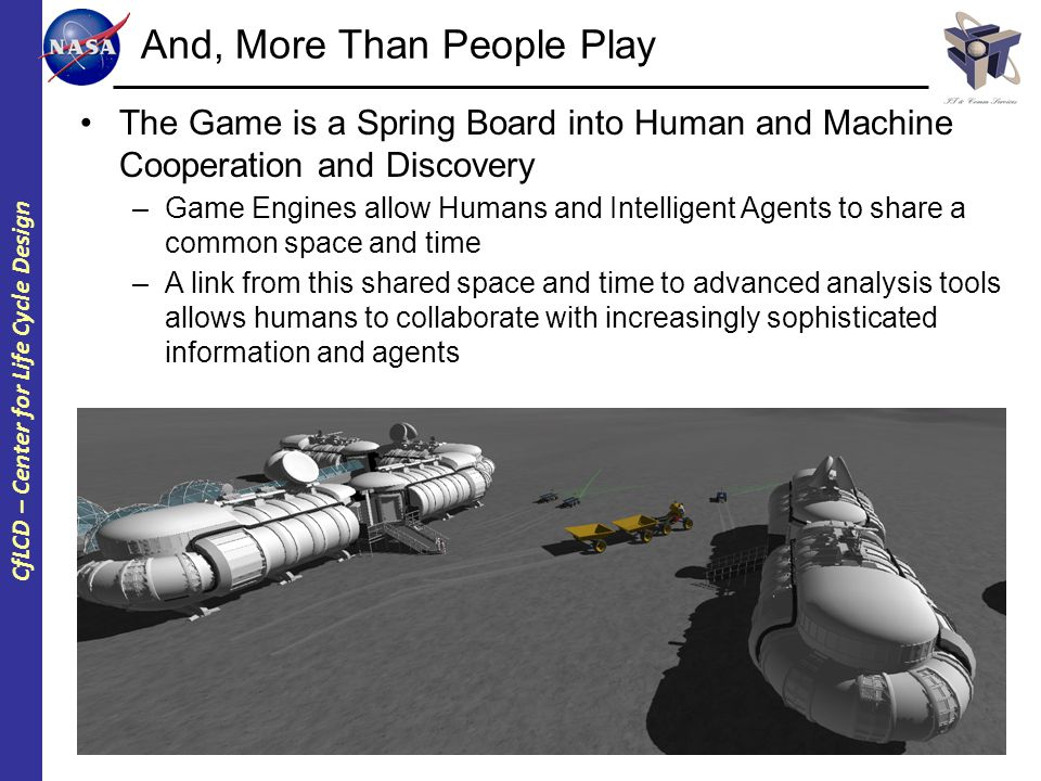 CfLCD – Center for Life Cycle Design And, More Than People Play The Game is a Spring Board into Human and Machine Cooperation and Discovery –Game Engines allow Humans and Intelligent Agents to share a common space and time –A link from this shared space and time to advanced analysis tools allows humans to collaborate with increasingly sophisticated information and agents
