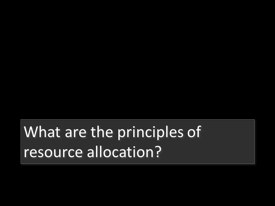What are the principles of resource allocation
