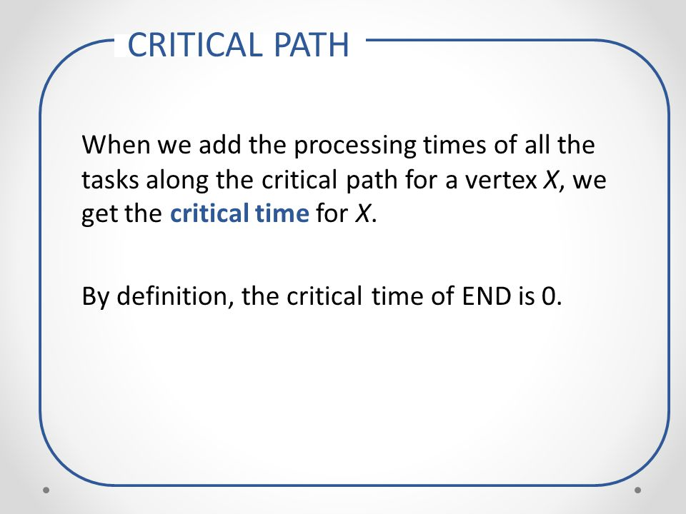 The path with longest processing time from START to END is called the critical path for the project, and the total processing time for this critical path is called the critical time for the project.