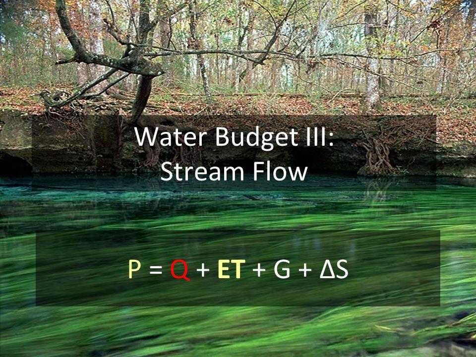Water Budget III: Stream Flow P = Q + ET + G + ΔS