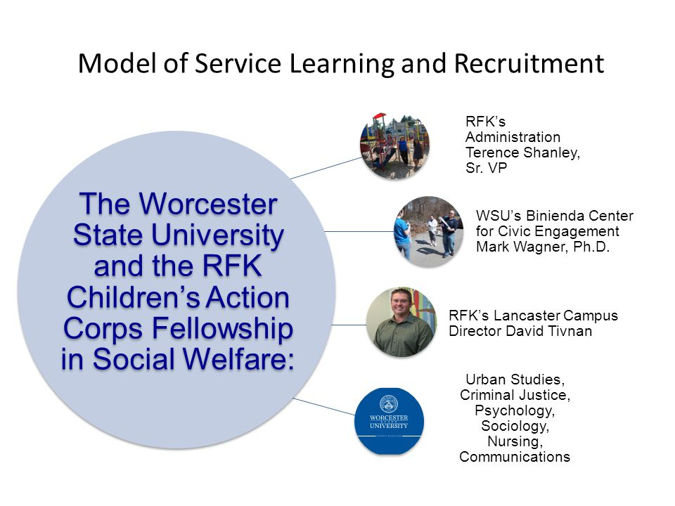 Model of Service Learning and Recruitment The Worcester State University and the RFK Children's Action Corps Fellowship in Social Welfare: RFK's Admin