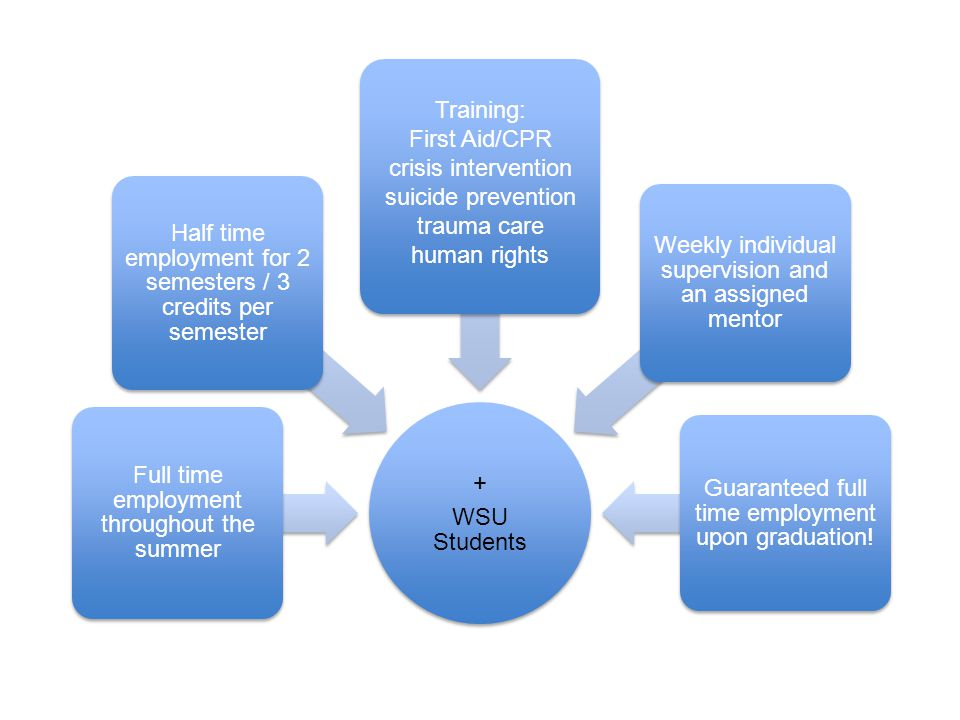 + WSU Students Full time employment throughout the summer Half time employment for 2 semesters / 3 credits per semester Training: First Aid/CPR crisis