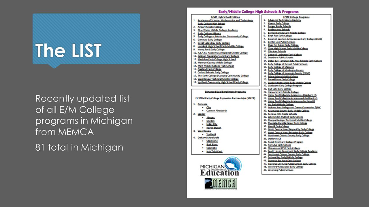 The LIST Recently updated list of all E/M College programs in Michigan from MEMCA 81 total in Michigan