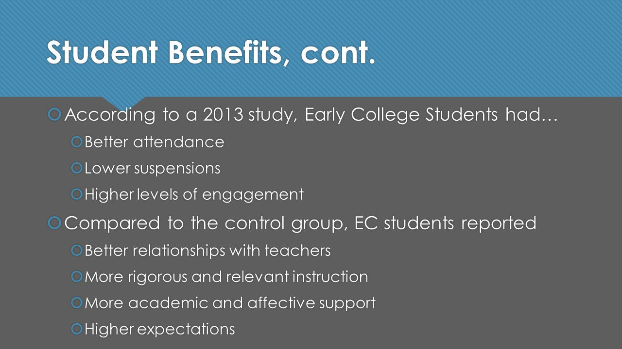Student Benefits, cont.