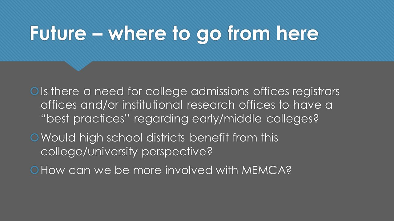 Future – where to go from here  Is there a need for college admissions offices registrars offices and/or institutional research offices to have a best practices regarding early/middle colleges.