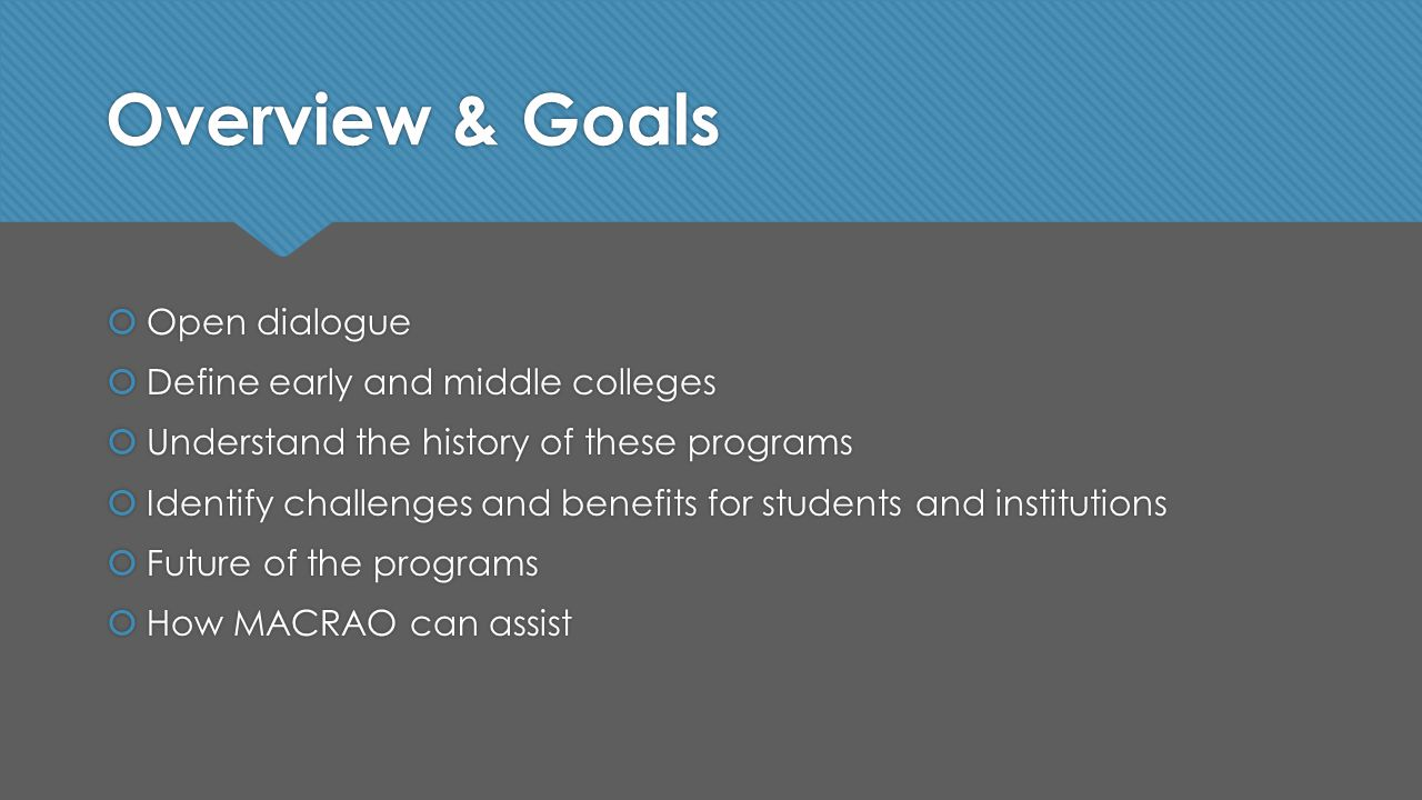 Overview & Goals  Open dialogue  Define early and middle colleges  Understand the history of these programs  Identify challenges and benefits for students and institutions  Future of the programs  How MACRAO can assist  Open dialogue  Define early and middle colleges  Understand the history of these programs  Identify challenges and benefits for students and institutions  Future of the programs  How MACRAO can assist