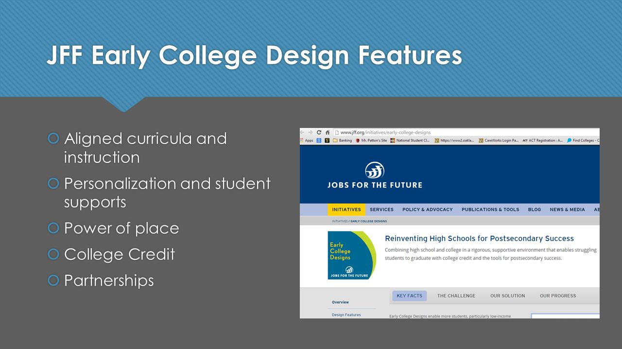 JFF Early College Design Features  Aligned curricula and instruction  Personalization and student supports  Power of place  College Credit  Partnerships  Aligned curricula and instruction  Personalization and student supports  Power of place  College Credit  Partnerships