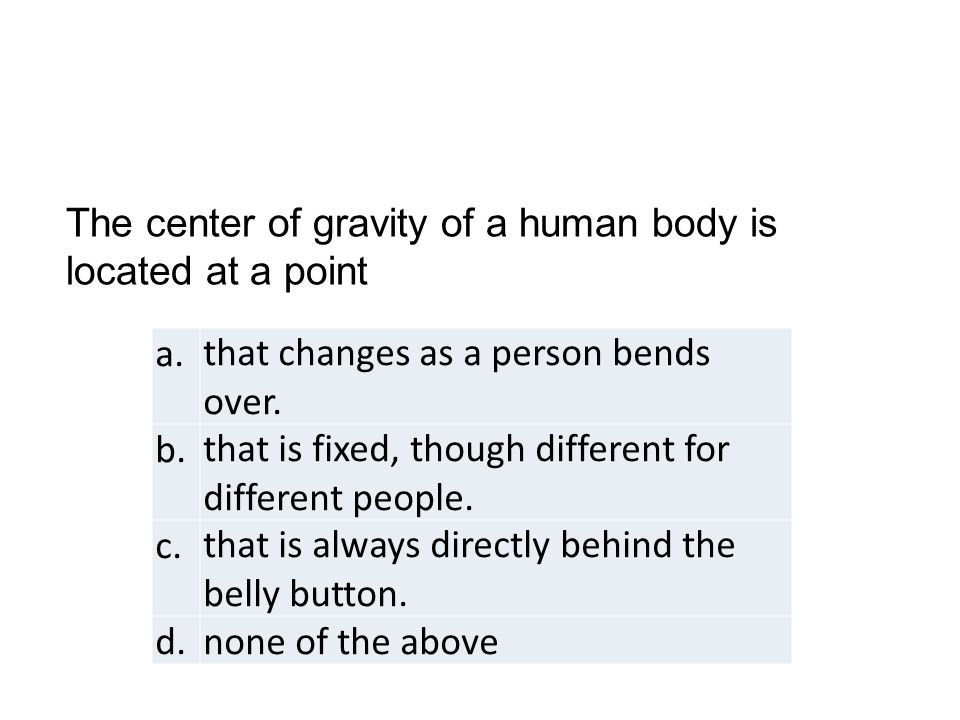 a.that changes as a person bends over.b.that is fixed, though different for different people.