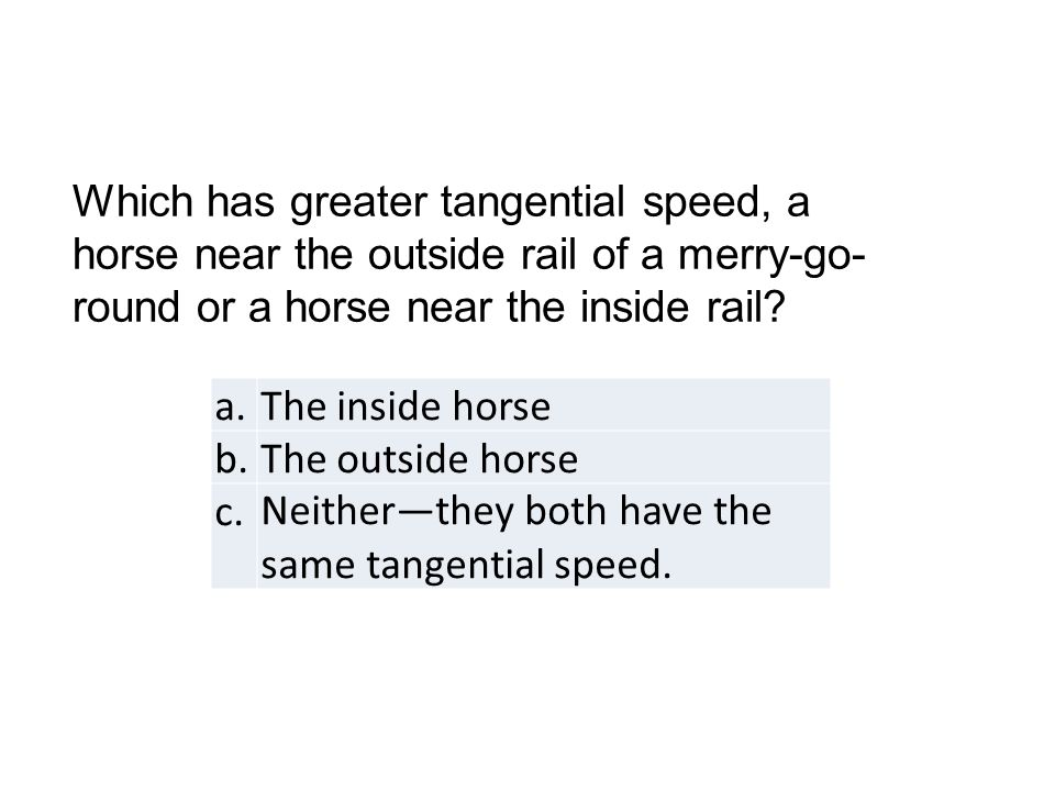 a.The inside horse b.The outside horse c.Neither—they both have the same tangential speed.