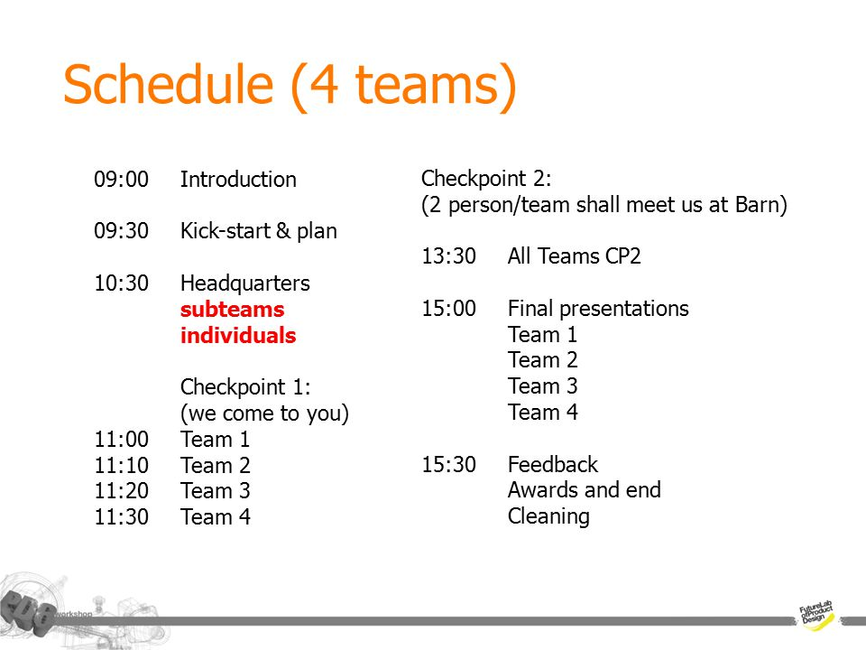 Schedule (4 teams) 09:00Introduction 09:30Kick-start & plan 10:30Headquarters subteams individuals Checkpoint 1: (we come to you) 11:00Team 1 11:10Team 2 11:20Team 3 11:30Team 4 Checkpoint 2: (2 person/team shall meet us at Barn) 13:30All Teams CP2 15:00Final presentations Team 1 Team 2 Team 3 Team 4 15:30Feedback Awards and end Cleaning