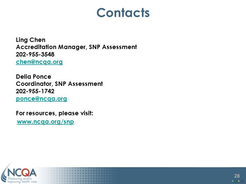 27 Contacts Anthony Davis Accreditation Manager, SNP Assessment 202 –955-1713 ahdavis@ncqa.org Priyanka Oberoi Accreditation Manager, SNP Assessment 2