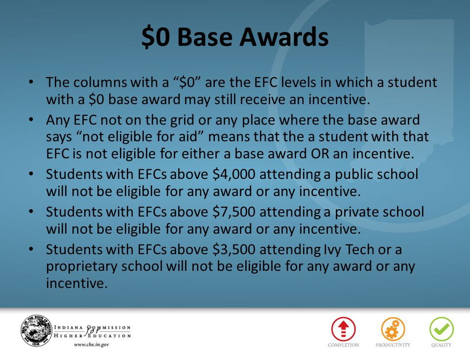 """$0 Base Awards The columns with a """"$0"""" are the EFC levels in which a student with a $0 base award may still receive an incentive. Any EFC not on the g"""