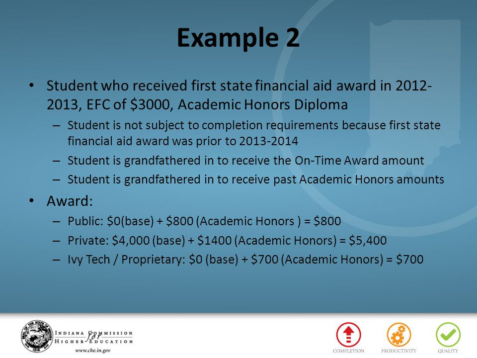 Example 2 Student who received first state financial aid award in 2012- 2013, EFC of $3000, Academic Honors Diploma – Student is not subject to comple