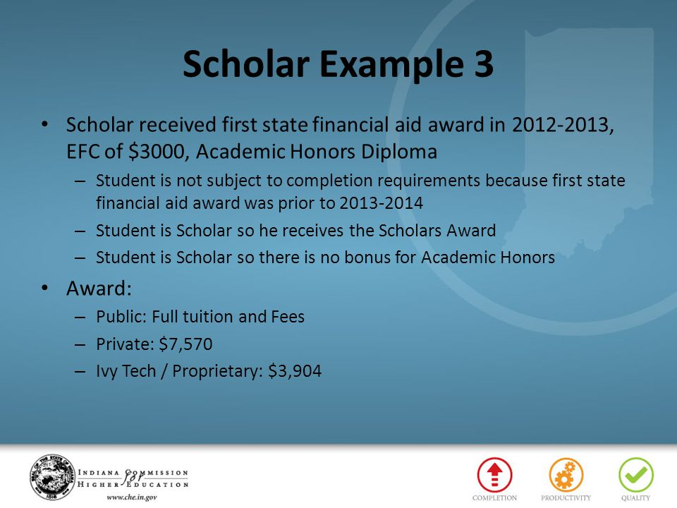 Scholar Example 3 Scholar received first state financial aid award in 2012-2013, EFC of $3000, Academic Honors Diploma – Student is not subject to com