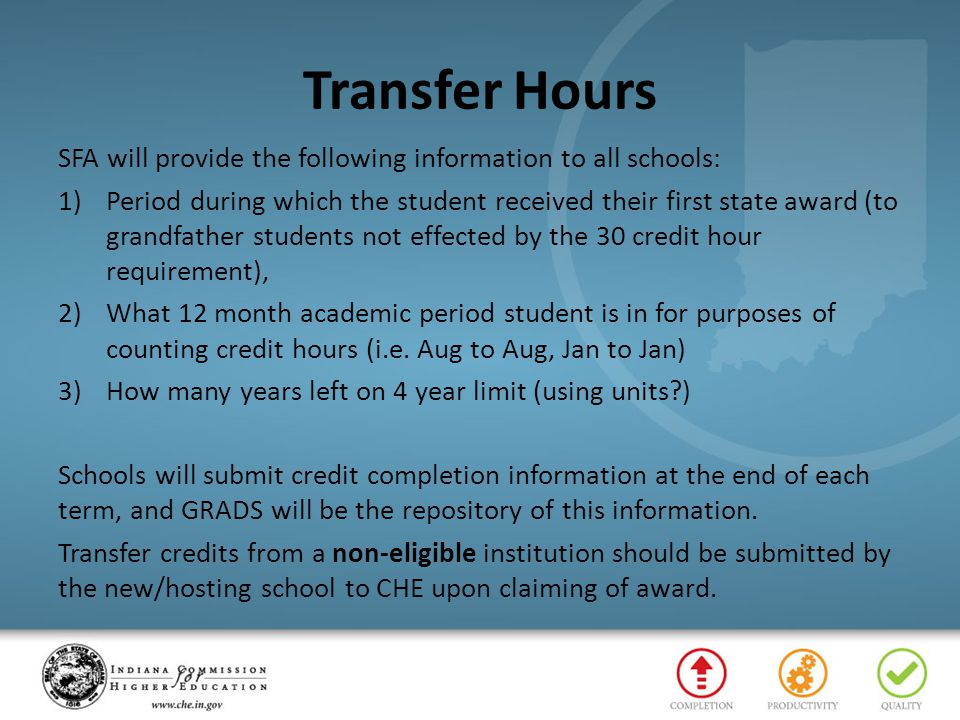 Transfer Hours SFA will provide the following information to all schools: 1)Period during which the student received their first state award (to grand