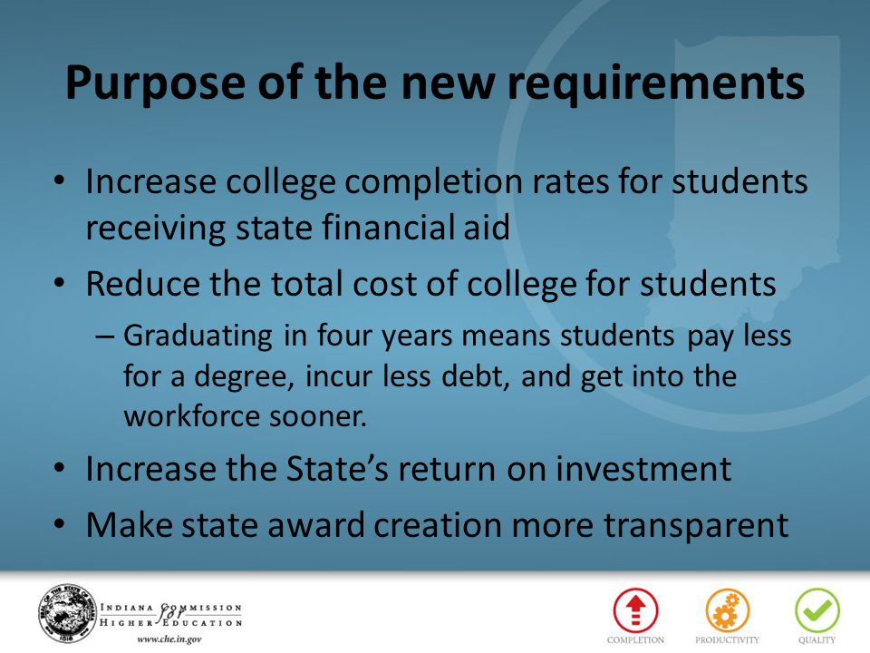 Purpose of the new requirements Increase college completion rates for students receiving state financial aid Reduce the total cost of college for stud