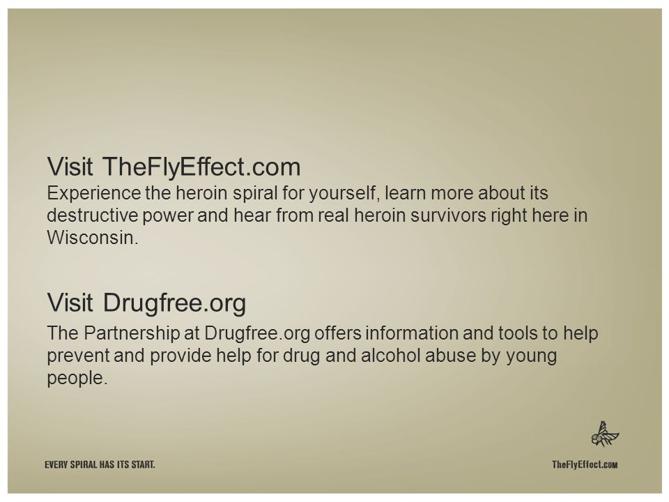 Visit TheFlyEffect.com Experience the heroin spiral for yourself, learn more about its destructive power and hear from real heroin survivors right here in Wisconsin.