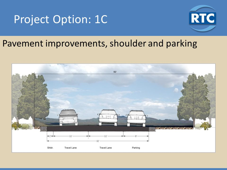 Project Option: 1C Pavement improvements, shoulder and parking