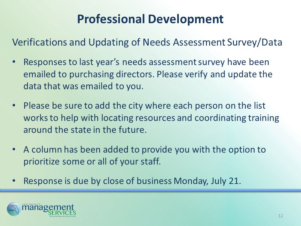 Professional Development Verifications and Updating of Needs Assessment Survey/Data Responses to last year's needs assessment survey have been emailed to purchasing directors.