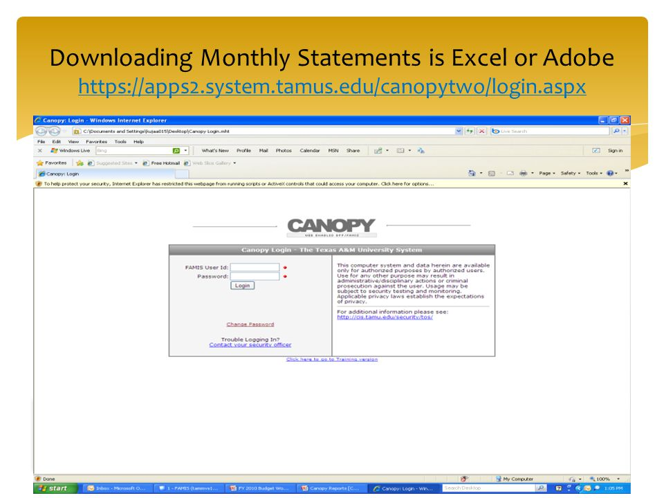 Downloading Monthly Statements is Excel or Adobe https://apps2.system.tamus.edu/canopytwo/login.aspx