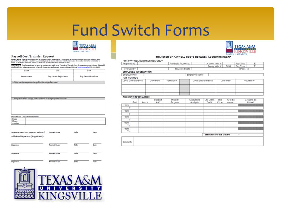 Fund Switch Forms