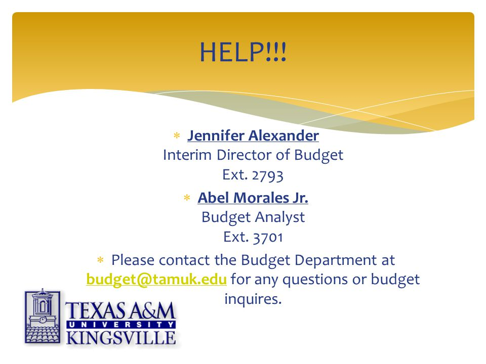  Jennifer Alexander Interim Director of Budget Ext.