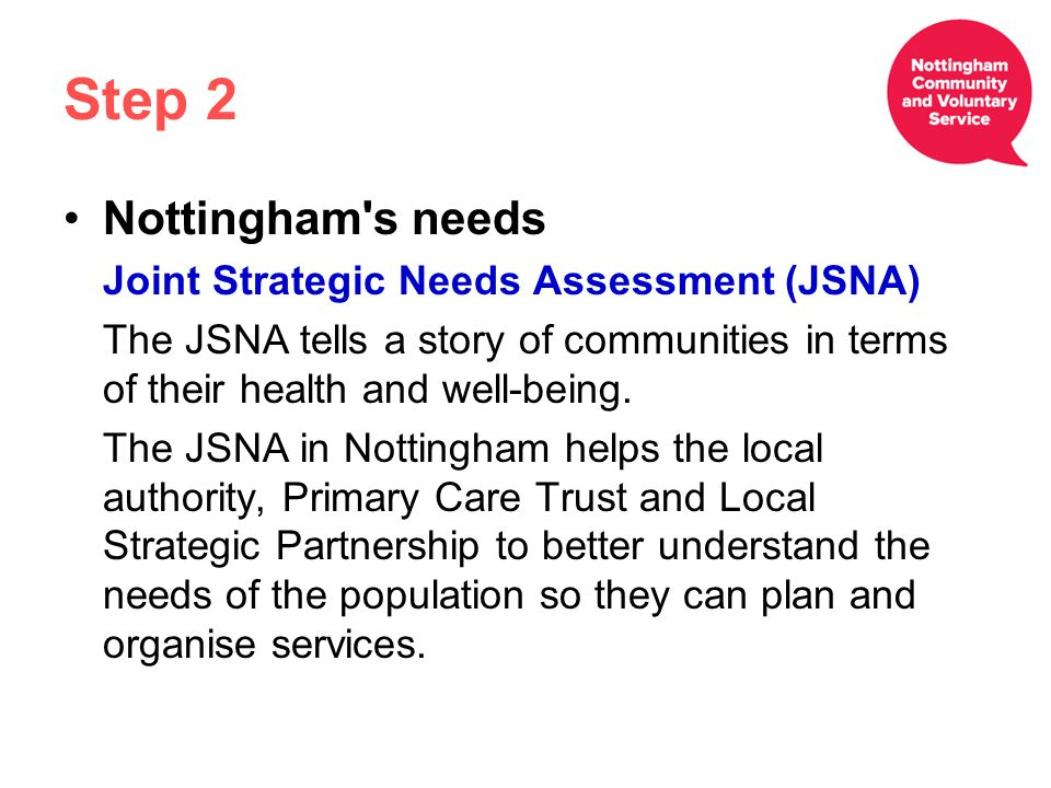Step 2 Nottingham s needs Joint Strategic Needs Assessment (JSNA) The JSNA tells a story of communities in terms of their health and well-being.