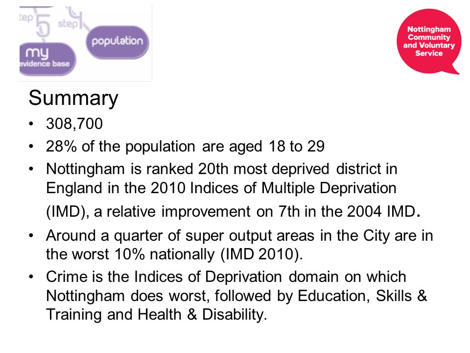 Summary 308,700 28% of the population are aged 18 to 29 Nottingham is ranked 20th most deprived district in England in the 2010 Indices of Multiple Deprivation (IMD), a relative improvement on 7th in the 2004 IMD.