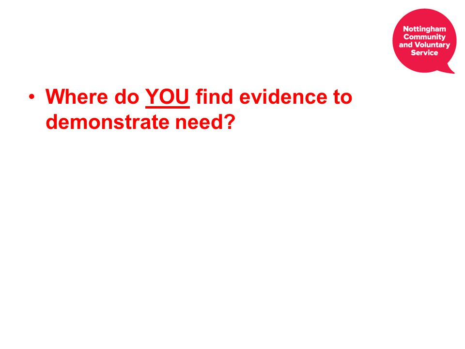 Where do YOU find evidence to demonstrate need