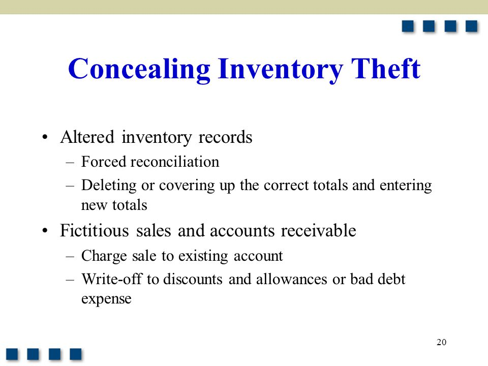 20 Concealing Inventory Theft Altered inventory records –Forced reconciliation –Deleting or covering up the correct totals and entering new totals Fictitious sales and accounts receivable –Charge sale to existing account –Write-off to discounts and allowances or bad debt expense