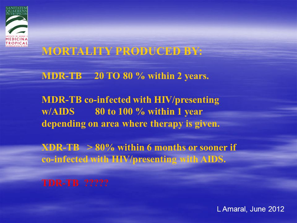 L Amaral, June 2012 MORTALITY PRODUCED BY: MDR-TB 20 TO 80 % within 2 years.