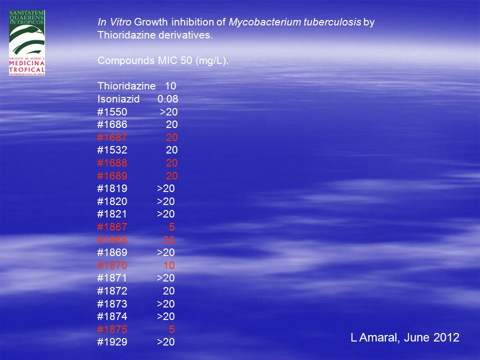 L Amaral, June 2012 In Vitro Growth inhibition of Mycobacterium tuberculosis by Thioridazine derivatives.
