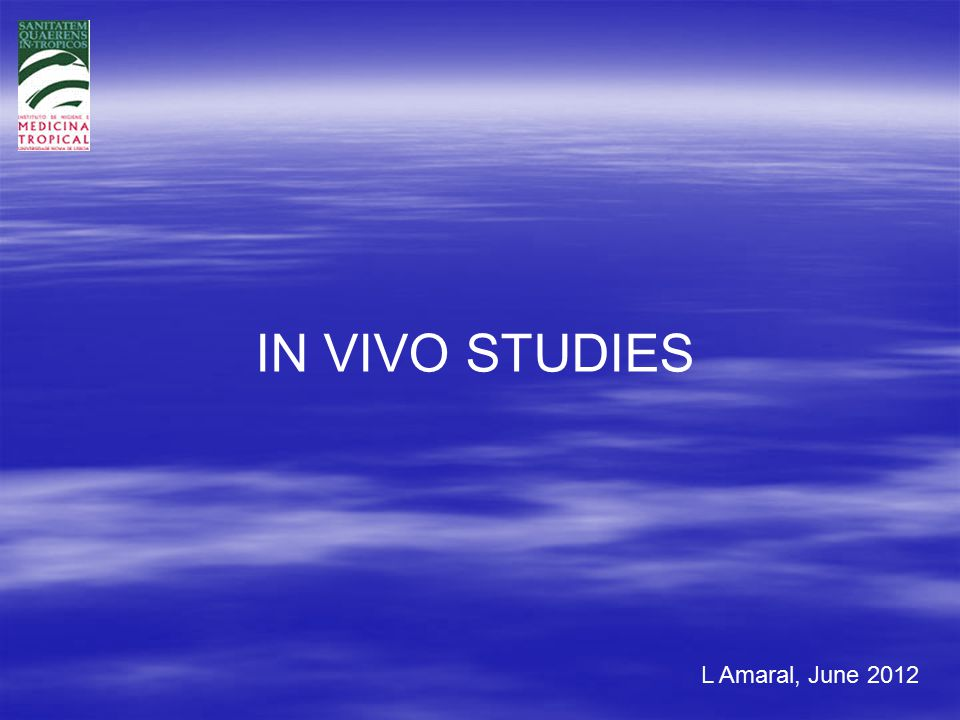 L Amaral, June 2012 IN VIVO STUDIES