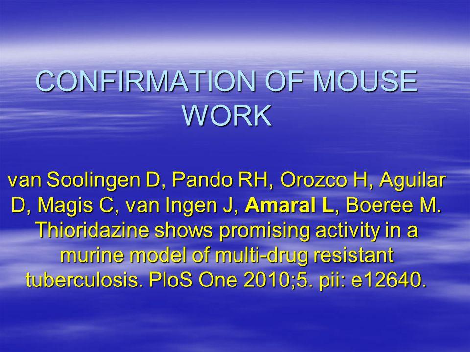 CONFIRMATION OF MOUSE WORK van Soolingen D, Pando RH, Orozco H, Aguilar D, Magis C, van Ingen J, Amaral L, Boeree M.