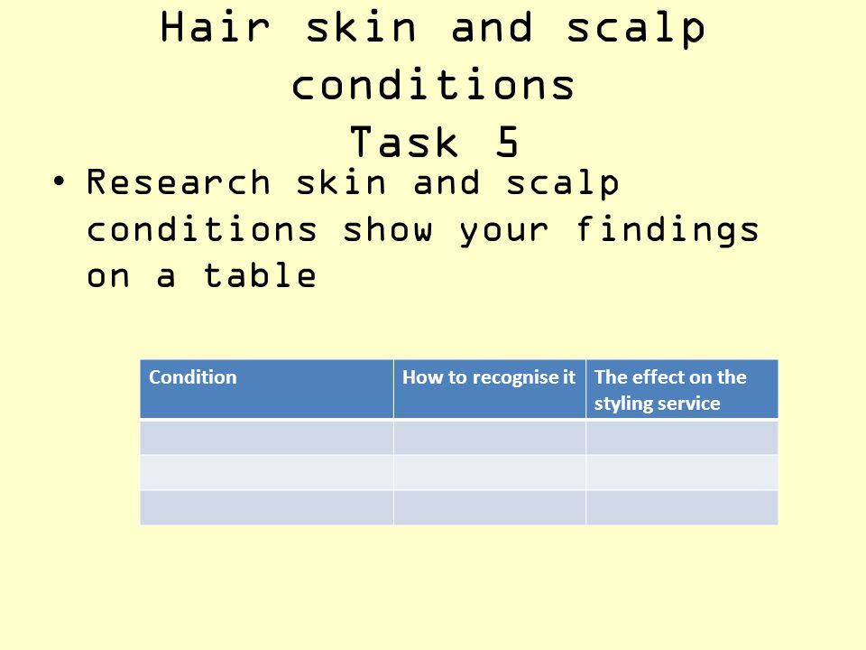 Hair skin and scalp conditions Task 5 Research skin and scalp conditions show your findings on a table ConditionHow to recognise itThe effect on the s