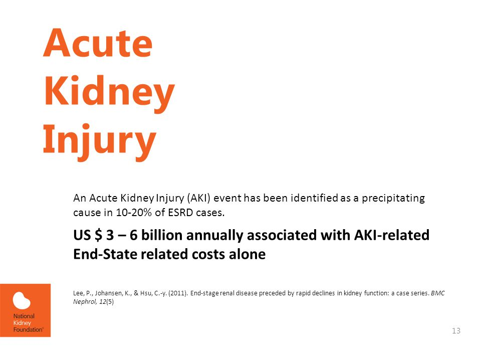 Acute Kidney Injury An Acute Kidney Injury (AKI) event has been identified as a precipitating cause in 10-20% of ESRD cases.