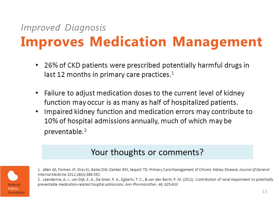 Improved Diagnosis Improves Medication Management 26% of CKD patients were prescribed potentially harmful drugs in last 12 months in primary care practices.
