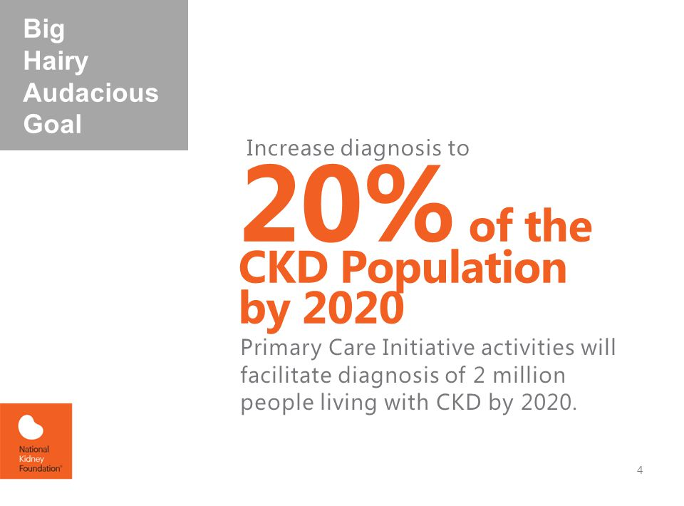 20% of the CKD Population by 2020 Increase diagnosis to Primary Care Initiative activities will facilitate diagnosis of 2 million people living with CKD by 2020.